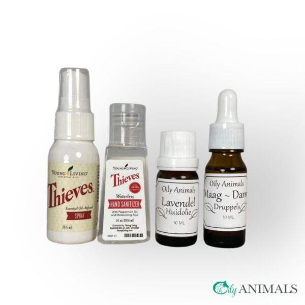 Vier eerste hulp producten met essentiële oliën samengesteld voor de webshop Oily Animals