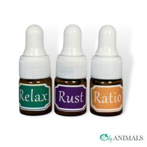 Drie flesjes met verschillende mixen tegen vuurwerkangst webshop Oily Animals
